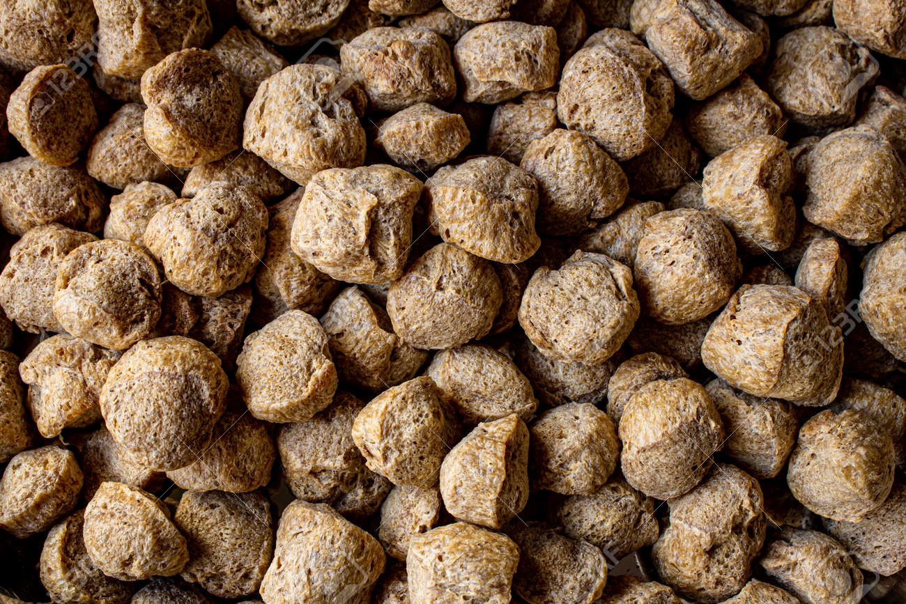 Top view of soya chucks which is rich in protein and alternative for meat. - 169342334