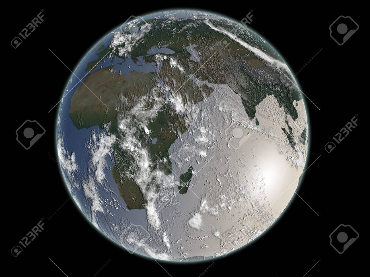 Earth with black background - 18637841