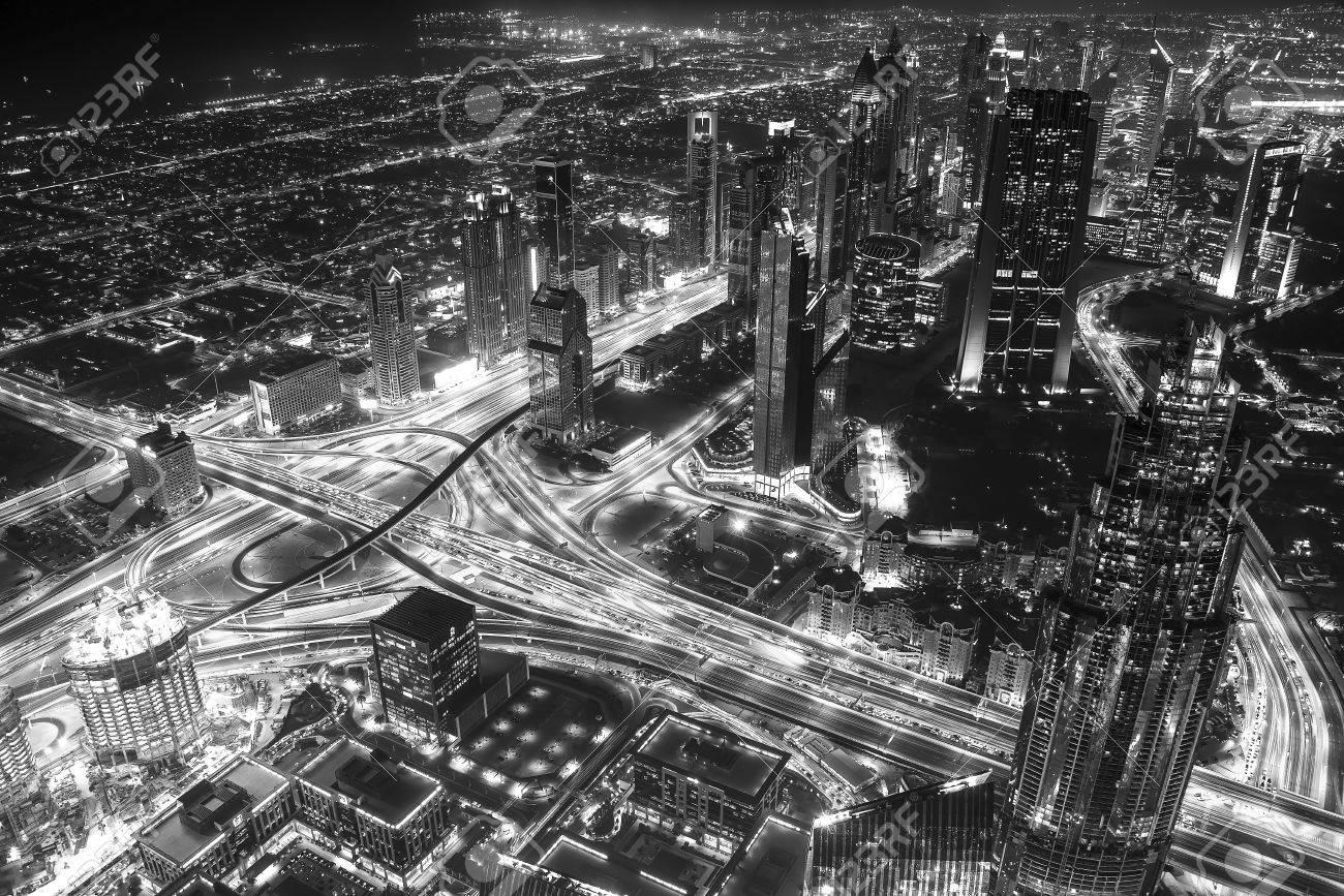 Viewed from dubai burj khalifa in black and white stock photo 48406096