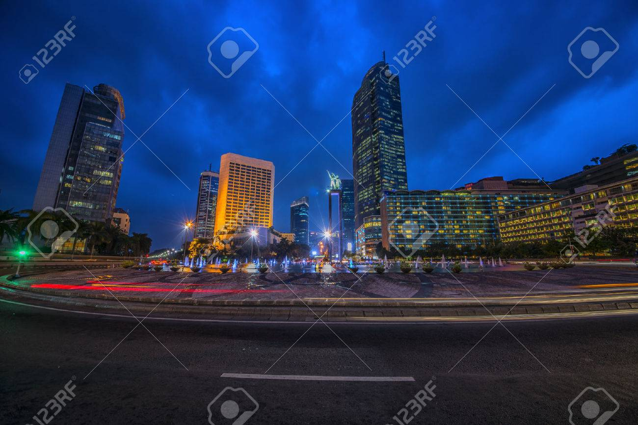 Jakarta capital of Indonesia at dusk - 54632001