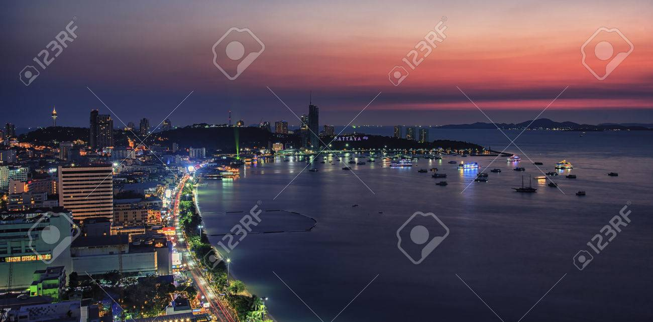 Sunset in Pattaya city - 55494167