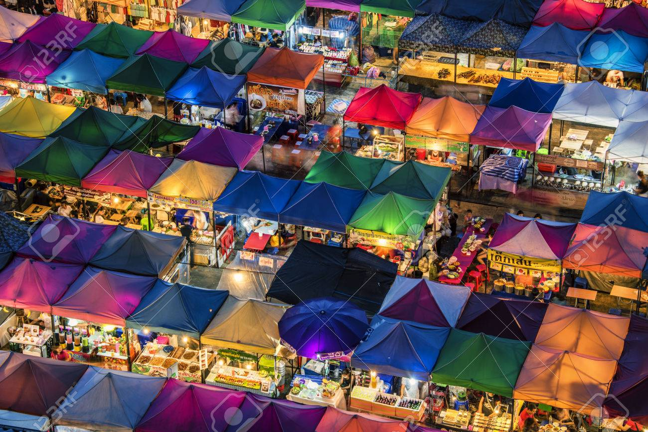 Train night market in Bangkok - 58416890