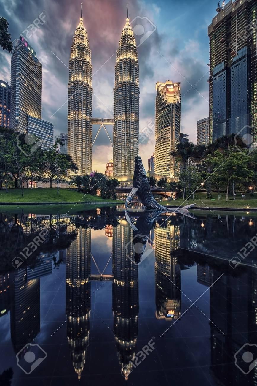 Petronas twin towers in Kuala Lumpur KLCC district - 73944096