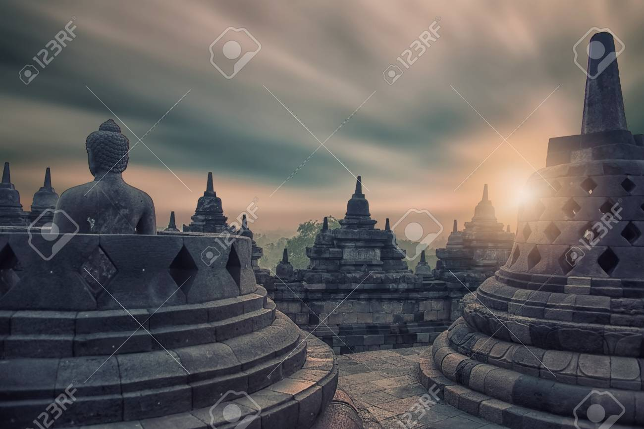 Early morning in Borobudur temple in Java - 94454196