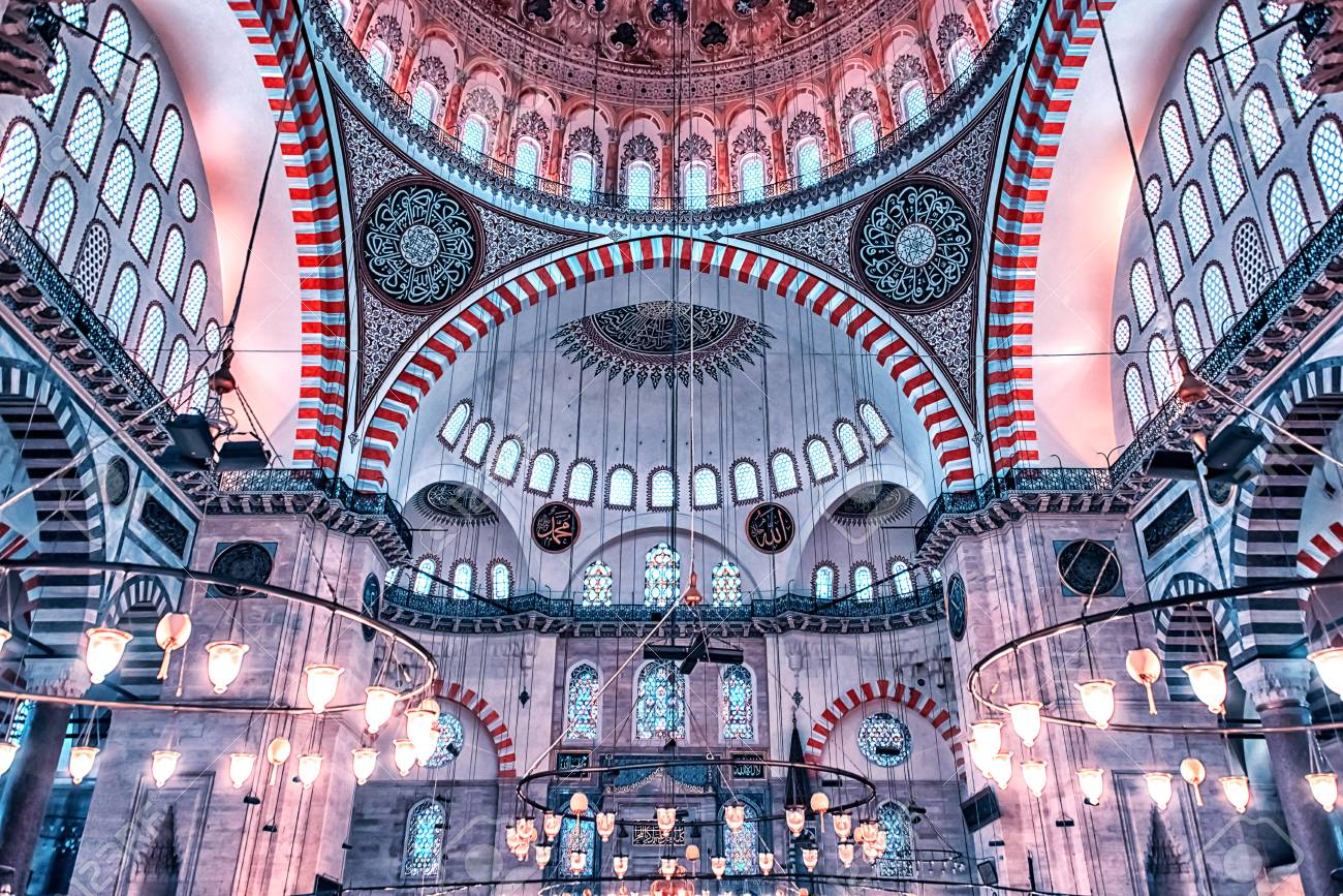 Inside The Suleymaniye Mosque In Istanbul Stock Photo, Picture And Royalty  Free Image. Image 97342316.