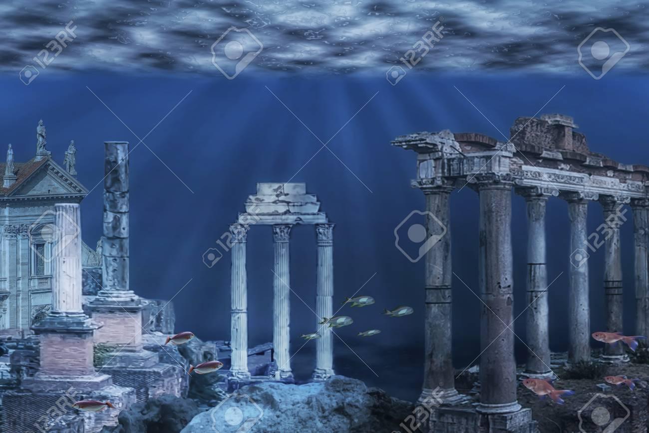 Illustration of the ruins of the Atlantis civilization. Underwater ruins - 121747228