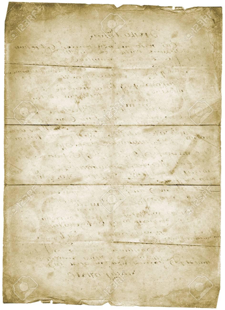 Old Lettre Papier Vintage Grunge Isolé Sur Fond Blanc Banque D