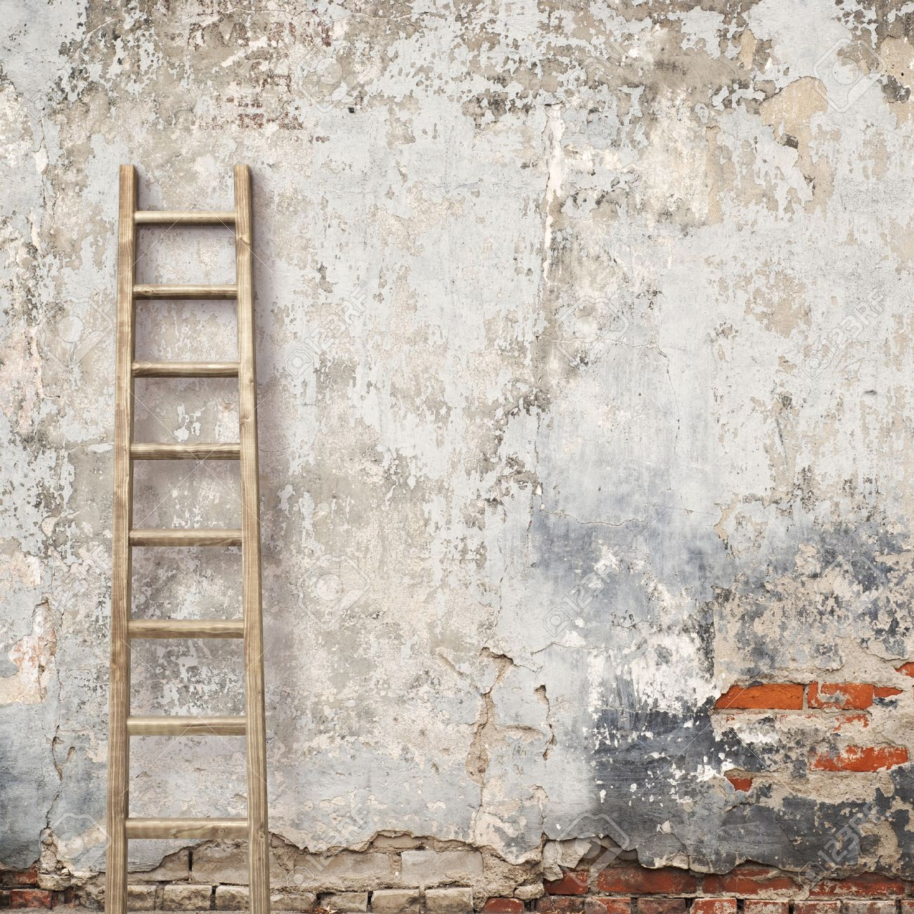 Plain wood table with hipster brick wall background stock photo - Weathered Stucco Wall With Wooden Ladder Background