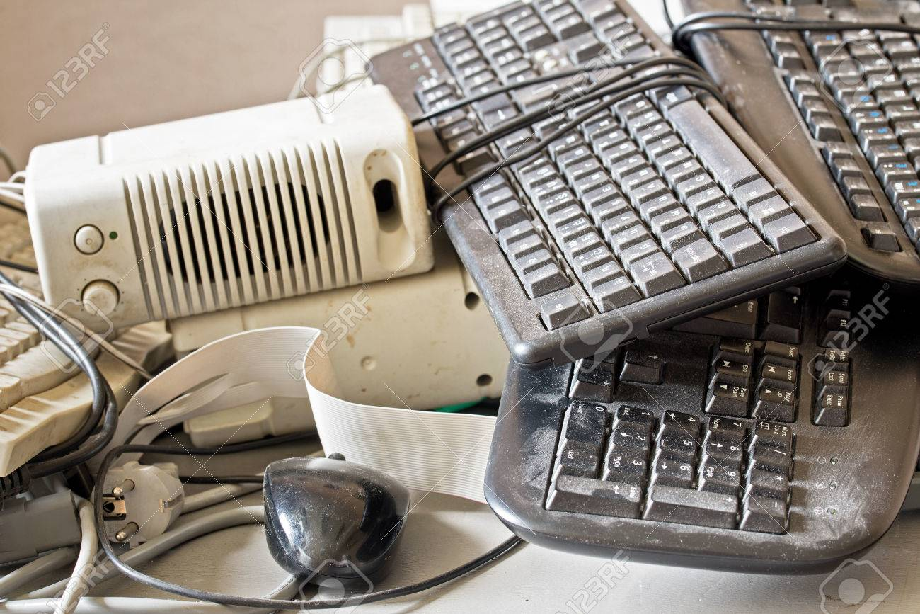 dirty old keyboard, mouse, speakers for electronic recycling