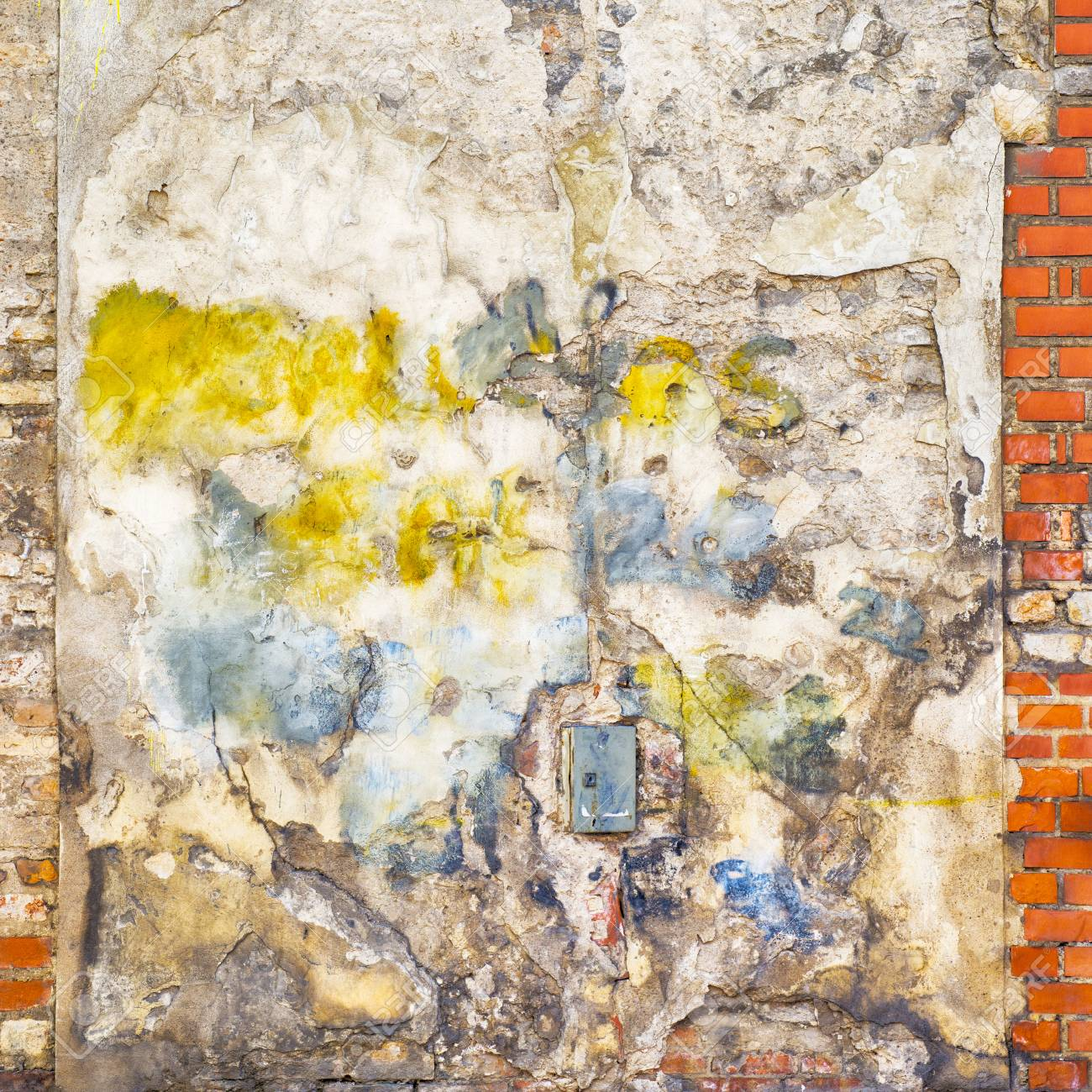 Colorful Painted Abandoned Stucco Brick Wall Background Stock Photo ...