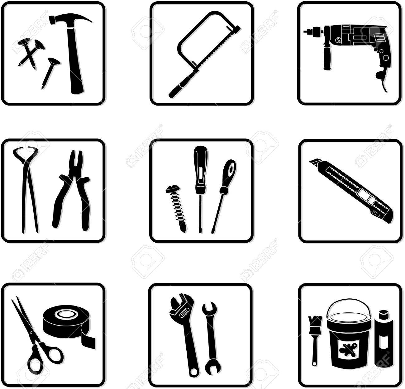 various industry icons in black and white Stock Vector - 2807159