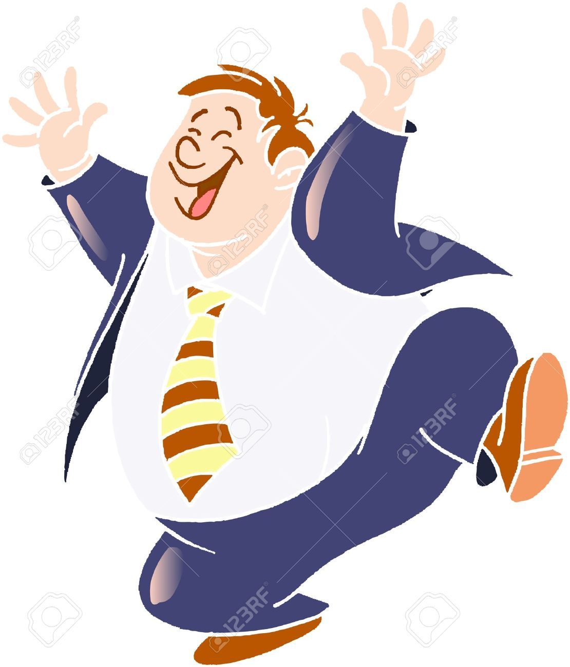 happy man in blue clothes and white shirt Stock Vector - 2807160