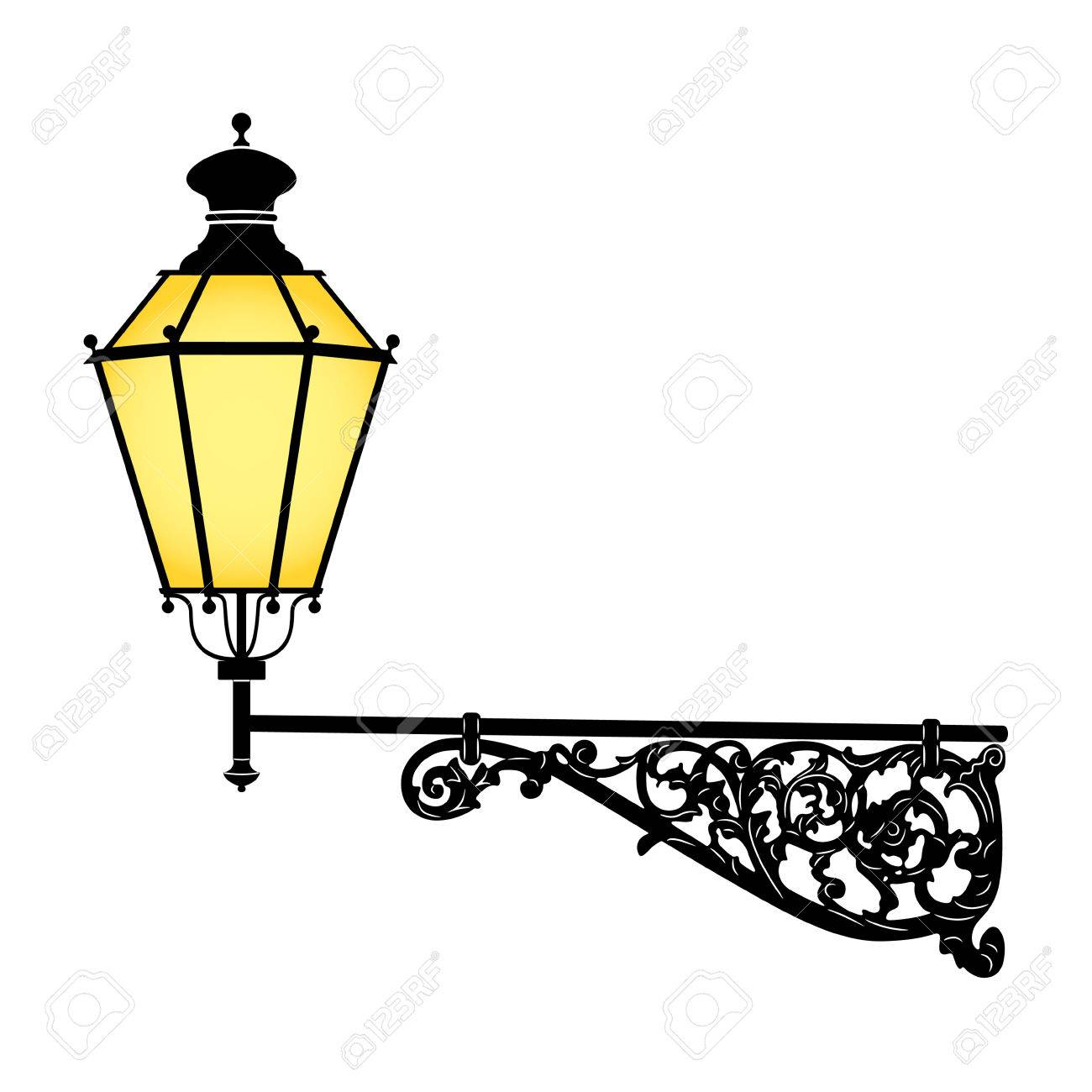 Italian Forged Iron Elegant Street Lamp Royalty Free Cliparts ...
