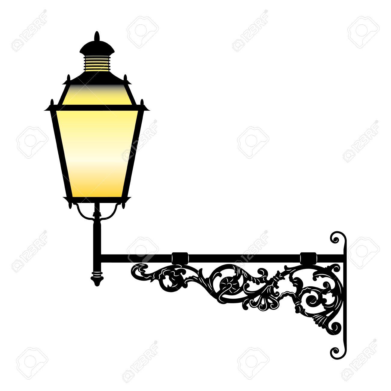 Italian forged iron elegant street lamp Stock Vector - 4141712
