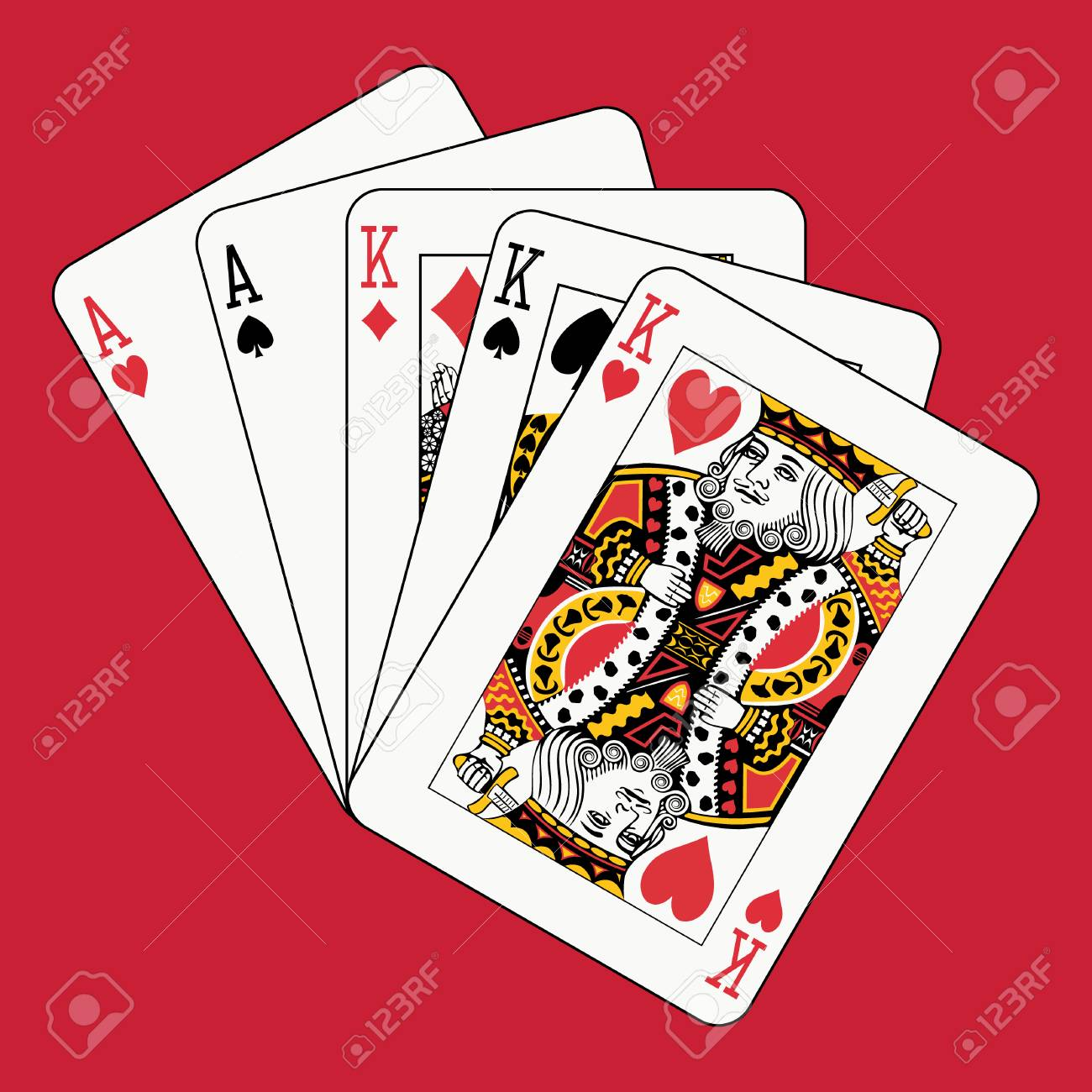 Full house kings aces on red Stock Vector - 4141720