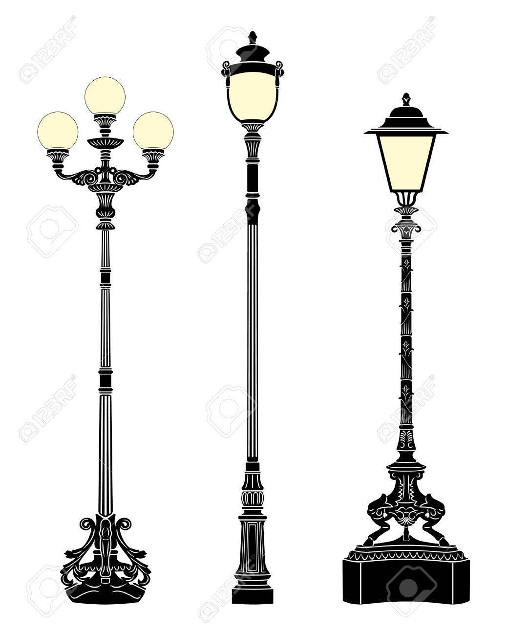 Italian forged iron elegant street lamps Stock Vector - 4232861