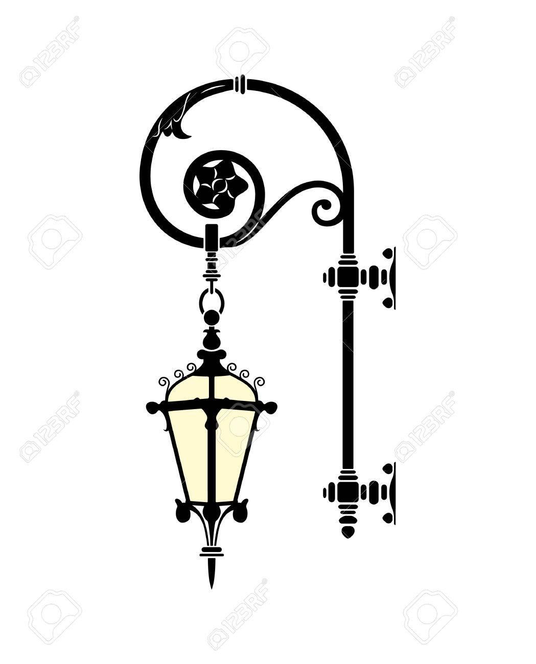 italian forged iron elegant street lamp Stock Vector - 4232864