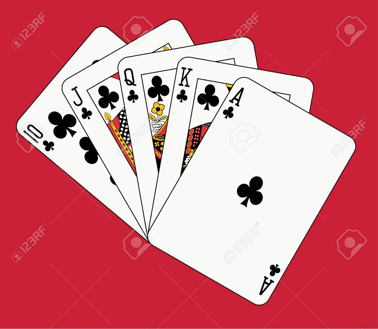 royal flush club on red backgriund Stock Vector - 4550066