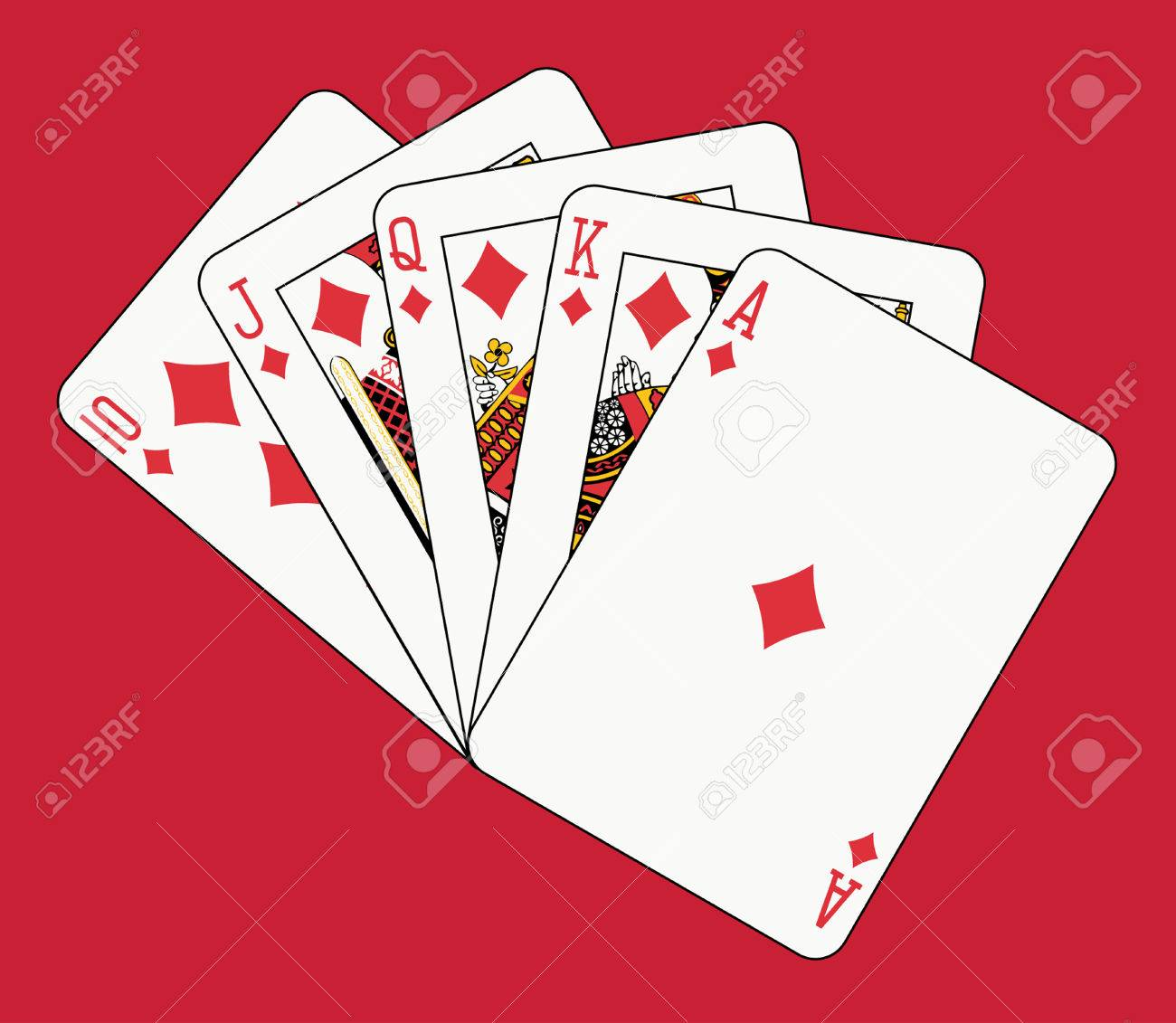 royal flush diamond on red backgriund Stock Vector - 4550068