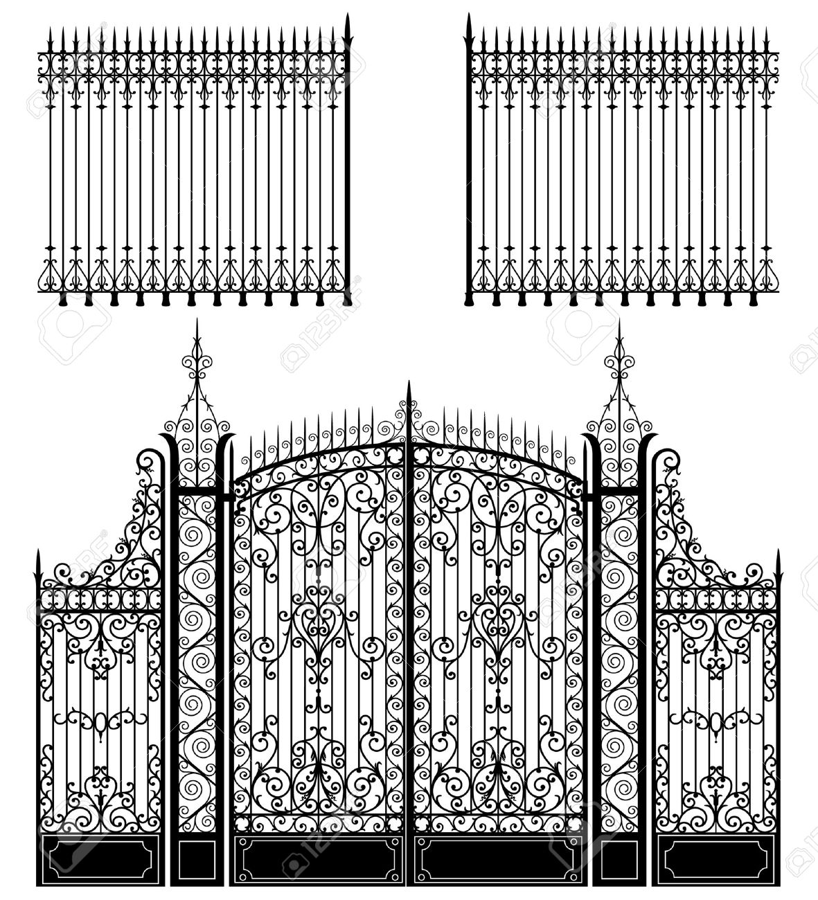 Wrought iron gate and fences full of swirled decorations Stock Vector - 5380068