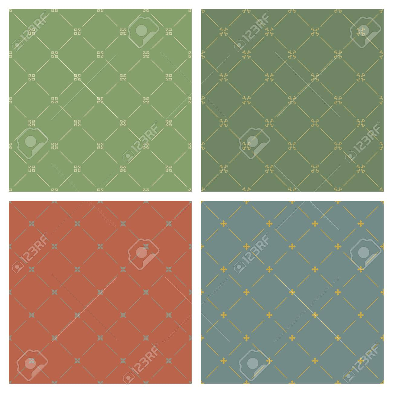 Four different classical style backgrounds seamless pattern Stock Vector - 5380061
