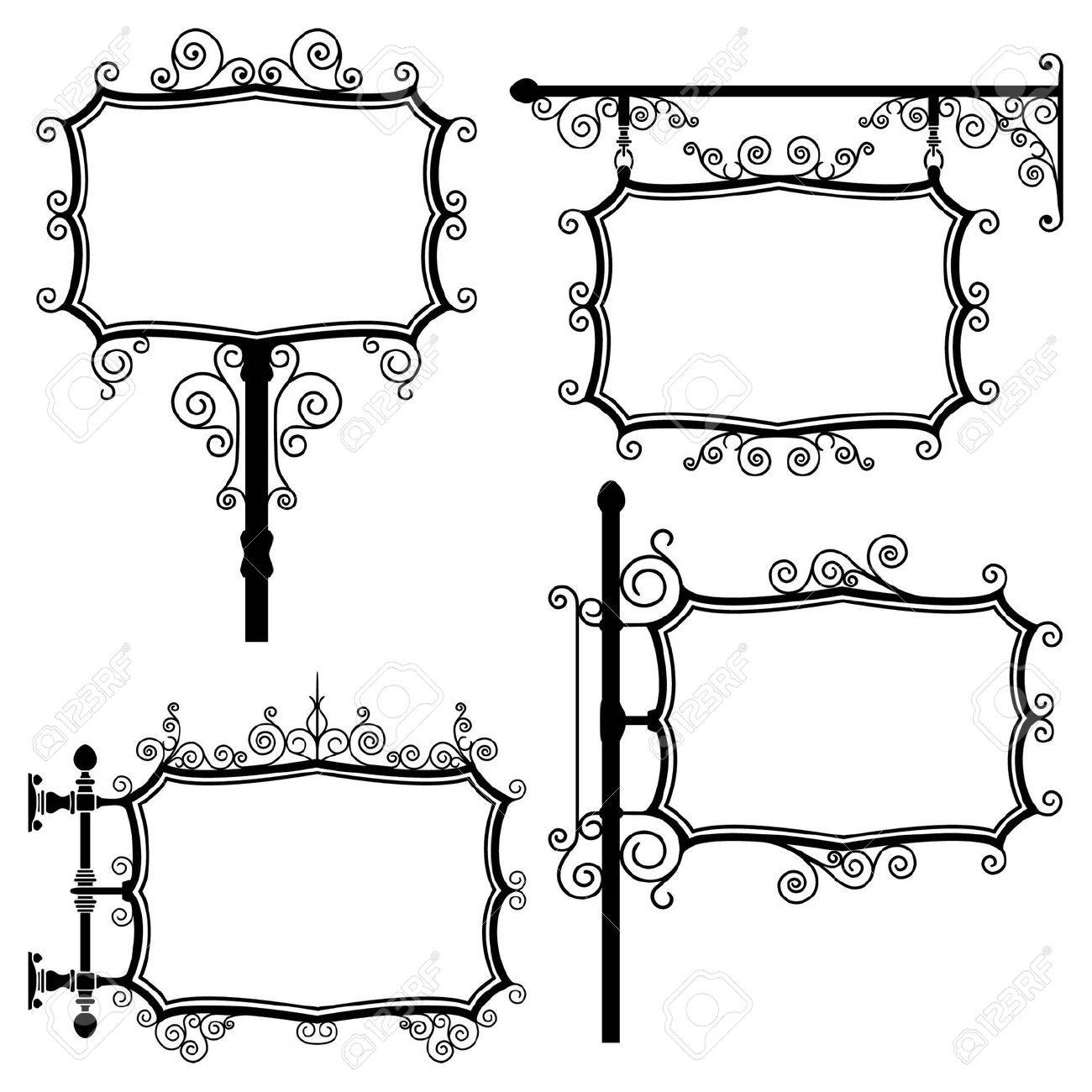Black and white wrought iron signs set Stock Vector - 5957161