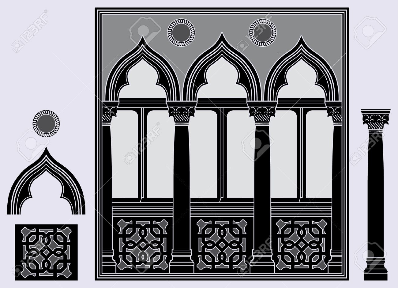 Three light window and architectural elements Stock Vector - 5957154