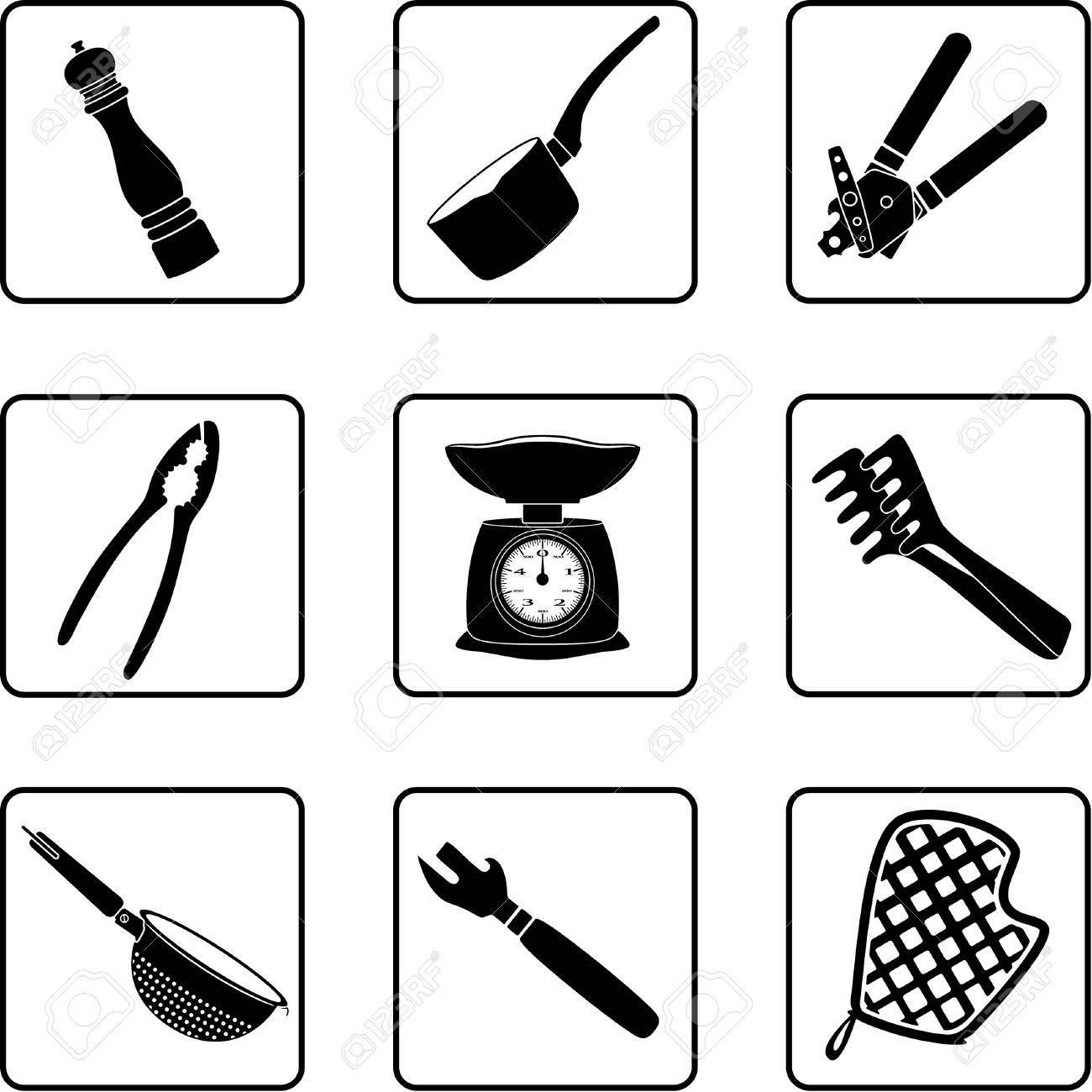 Sagome Di Oggetti Di Cucina In Una Griglia Di Quadrati Nove ...