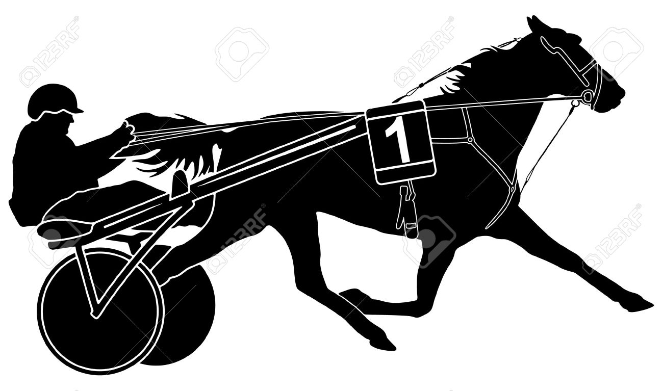 trotter horse racing and sulky with driver Stock Vector - 7163877