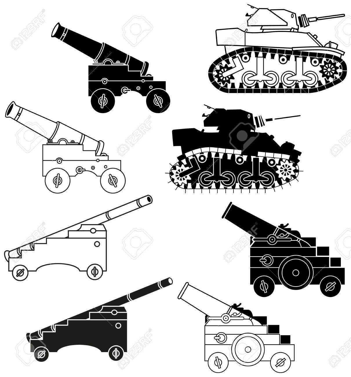 black and white cannon and tanks. Silhouettes and outlines Stock Vector - 14660604