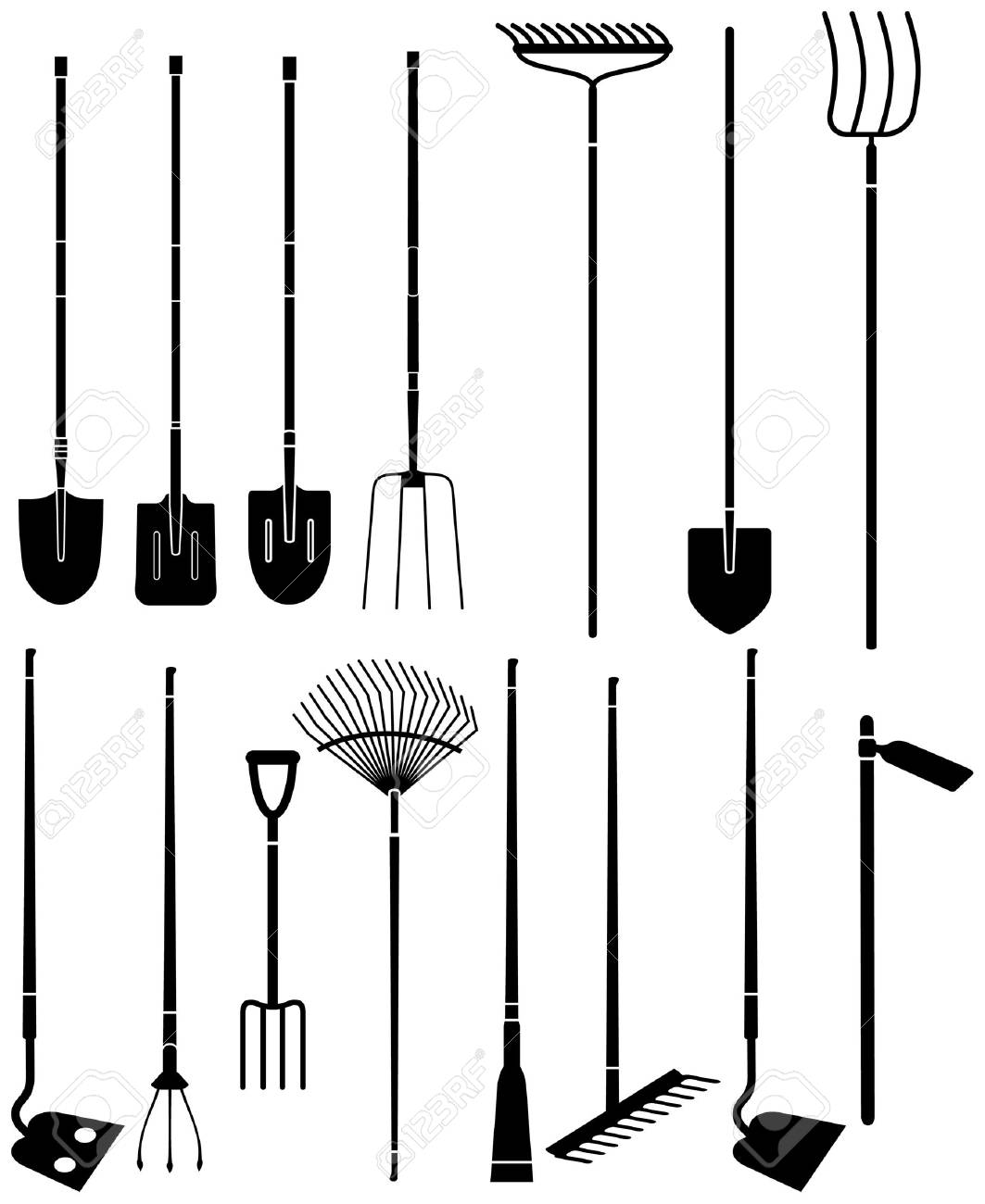 Exceptional Silhouette Set Of Long Handled Gardening Tools Stock Vector   16455797