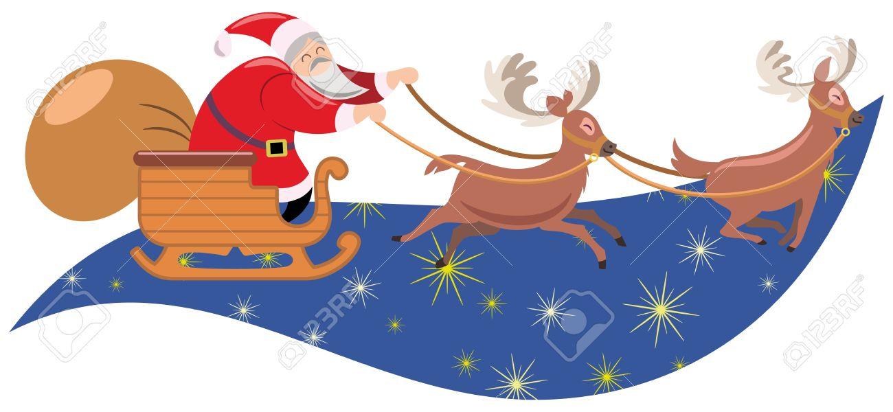 Santa claus sleigh pulled by reindeer Stock Vector - 17344086