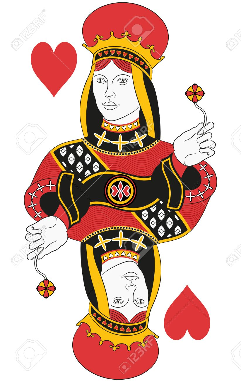 Queen Of Hearts Without Card Original Design Stock Vector