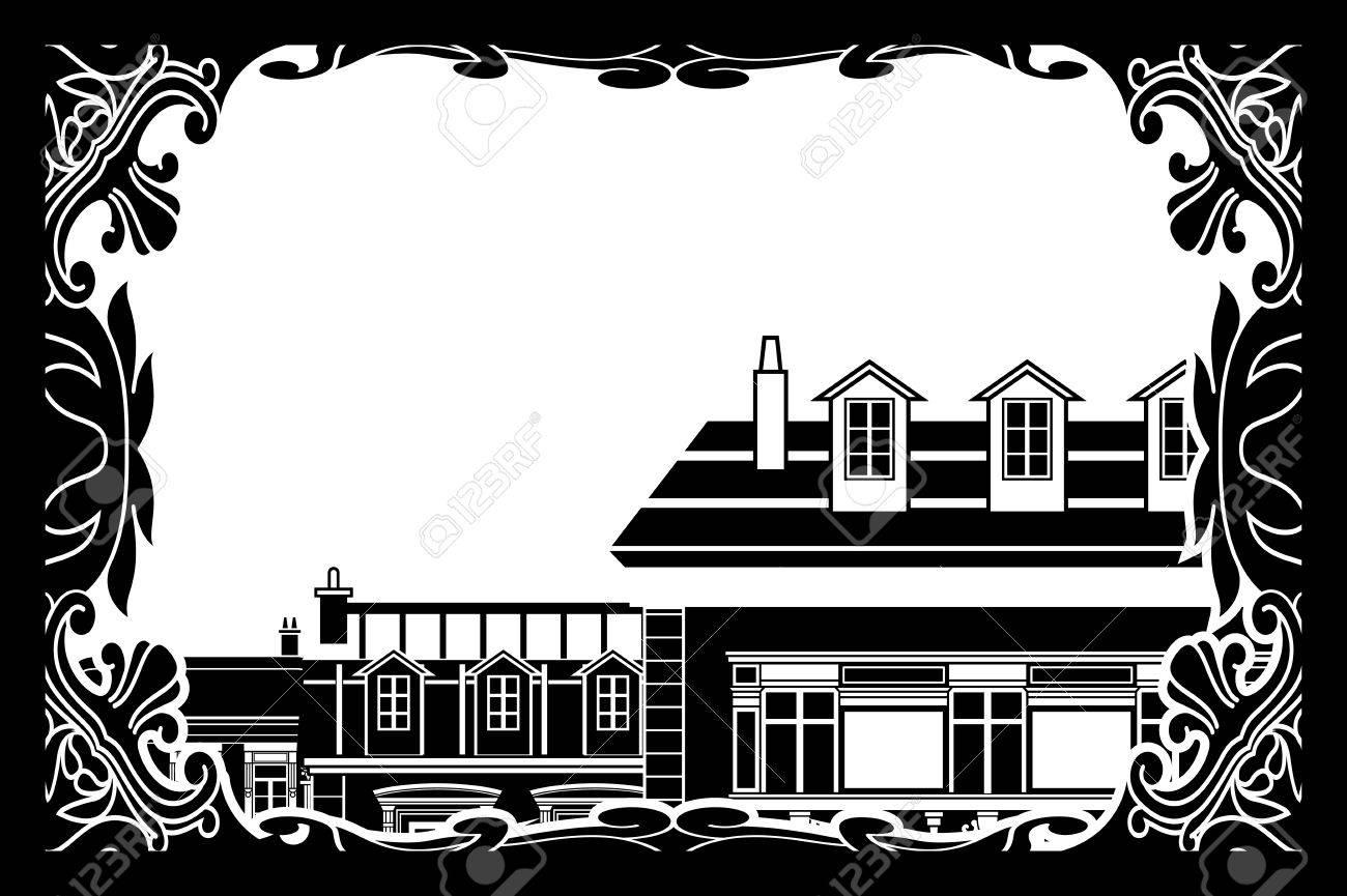 Schwarz Und Weiß Alten Europäischen Dächer In Einem Verzierten ...