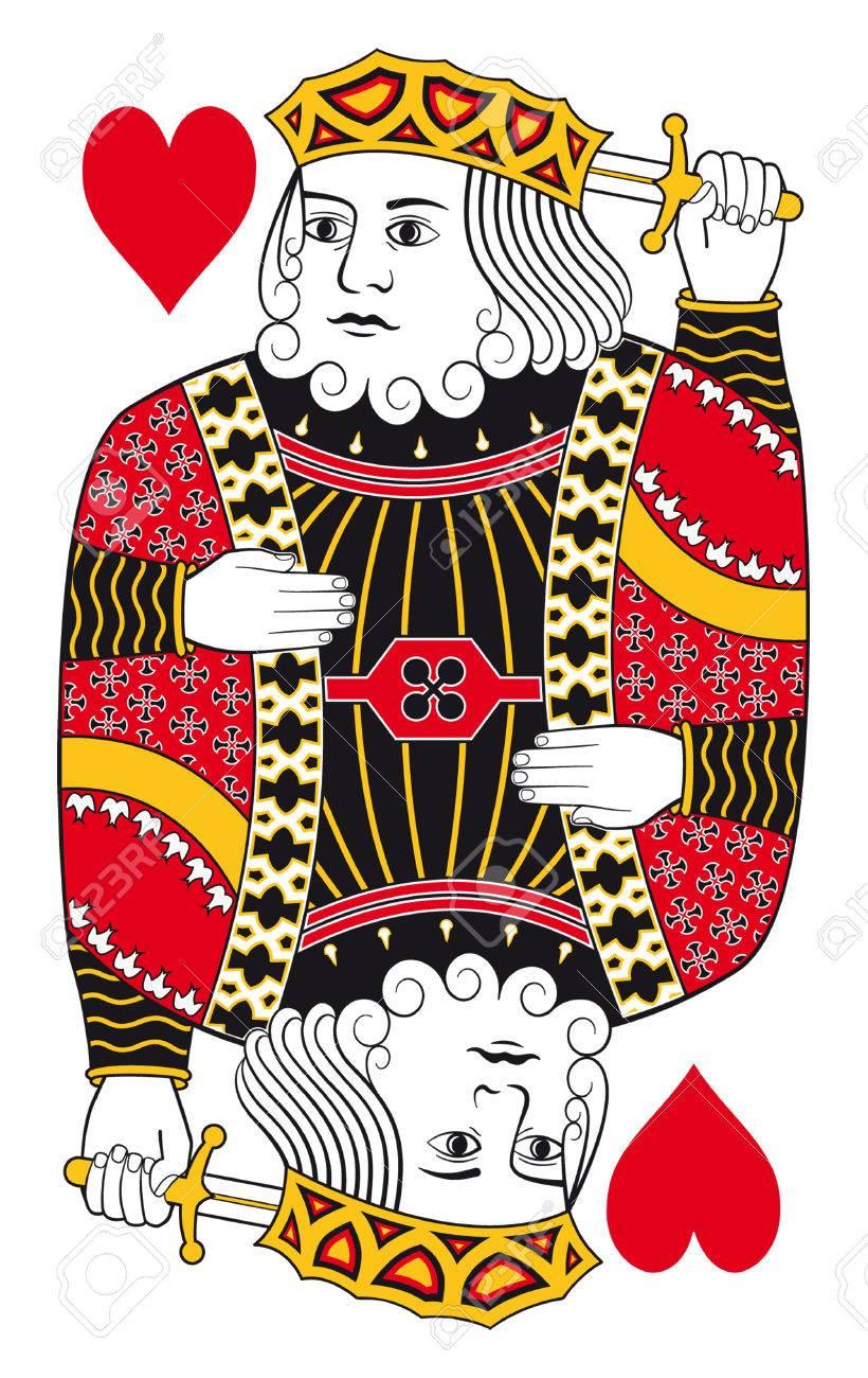 トランプのカードの背景なしハートのキングのイラスト素材 ベクタ Image