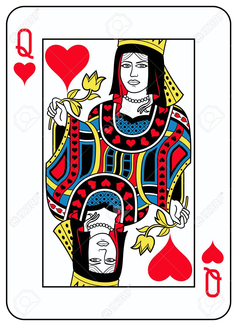 Queen of hearts playingcard inspired by french tradition - 76396879