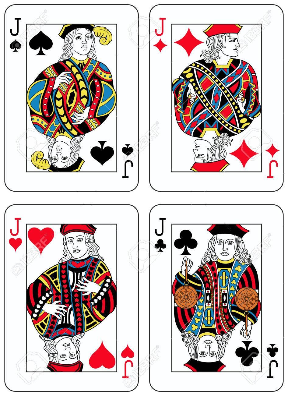 4 つのジャック数字をトランプに触発されたフランスの伝統すべての人物