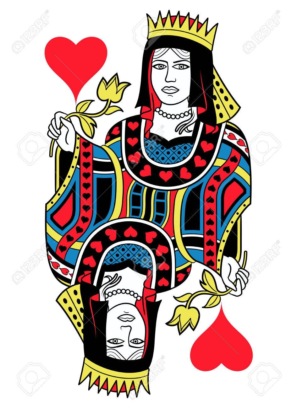 Queen Of Hearts Without Card Frame Design Inspired By French Tradition Stock Vector