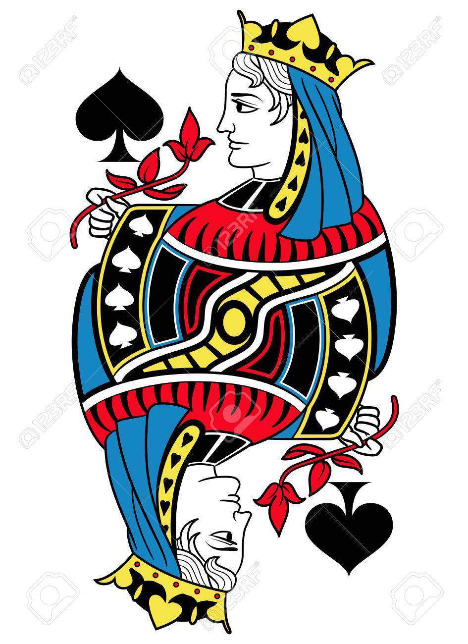 Queen Of Spades Without Card Frame Design Inspired By French Tradition Stock Vector