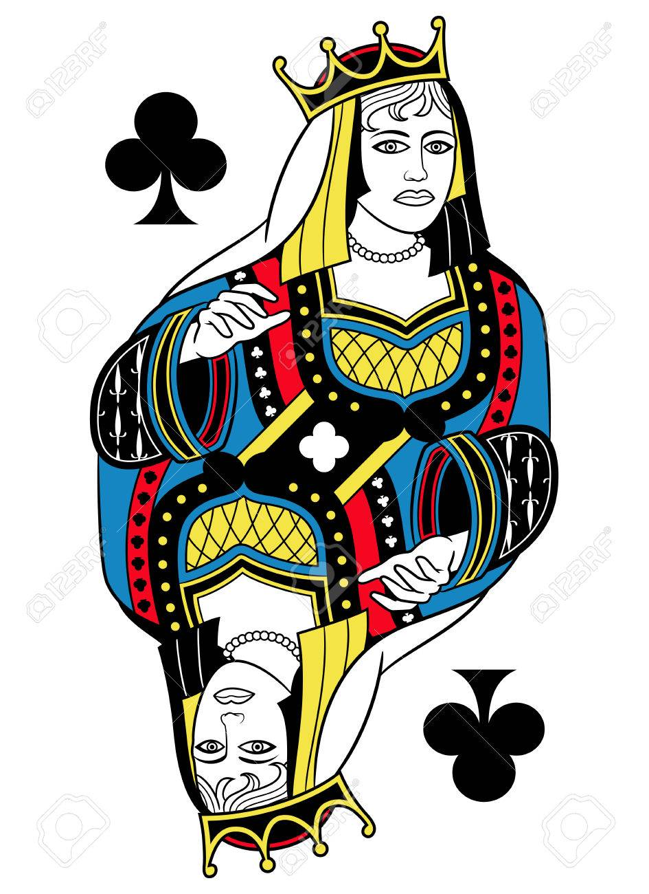 Queen Of Clubs Without Card Frame Design Inspired By French Tradition Stock Vector