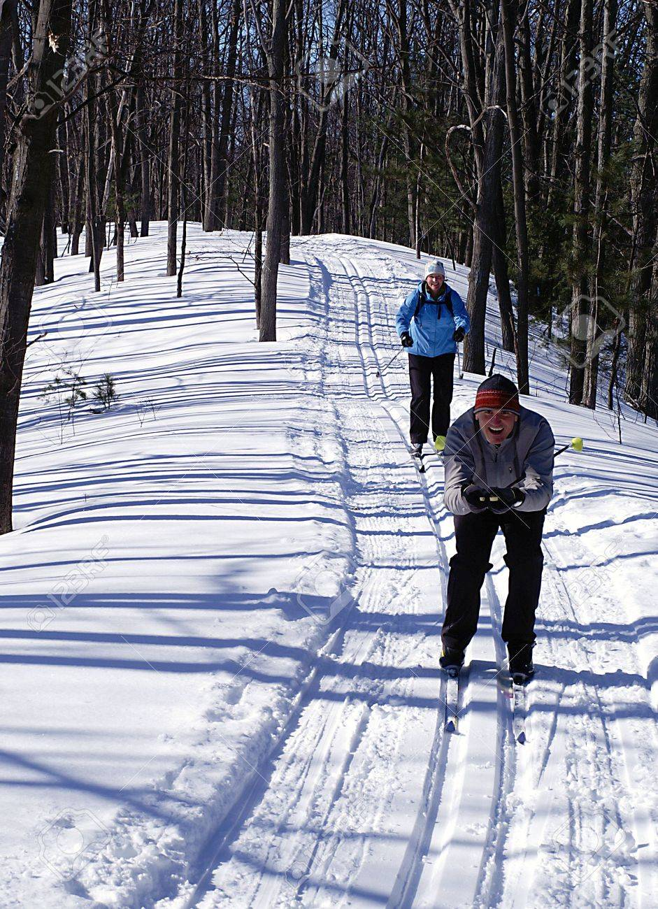 Active Boomers on the nordic ski trails in Wasaga Beach, Ontario. - 2685406