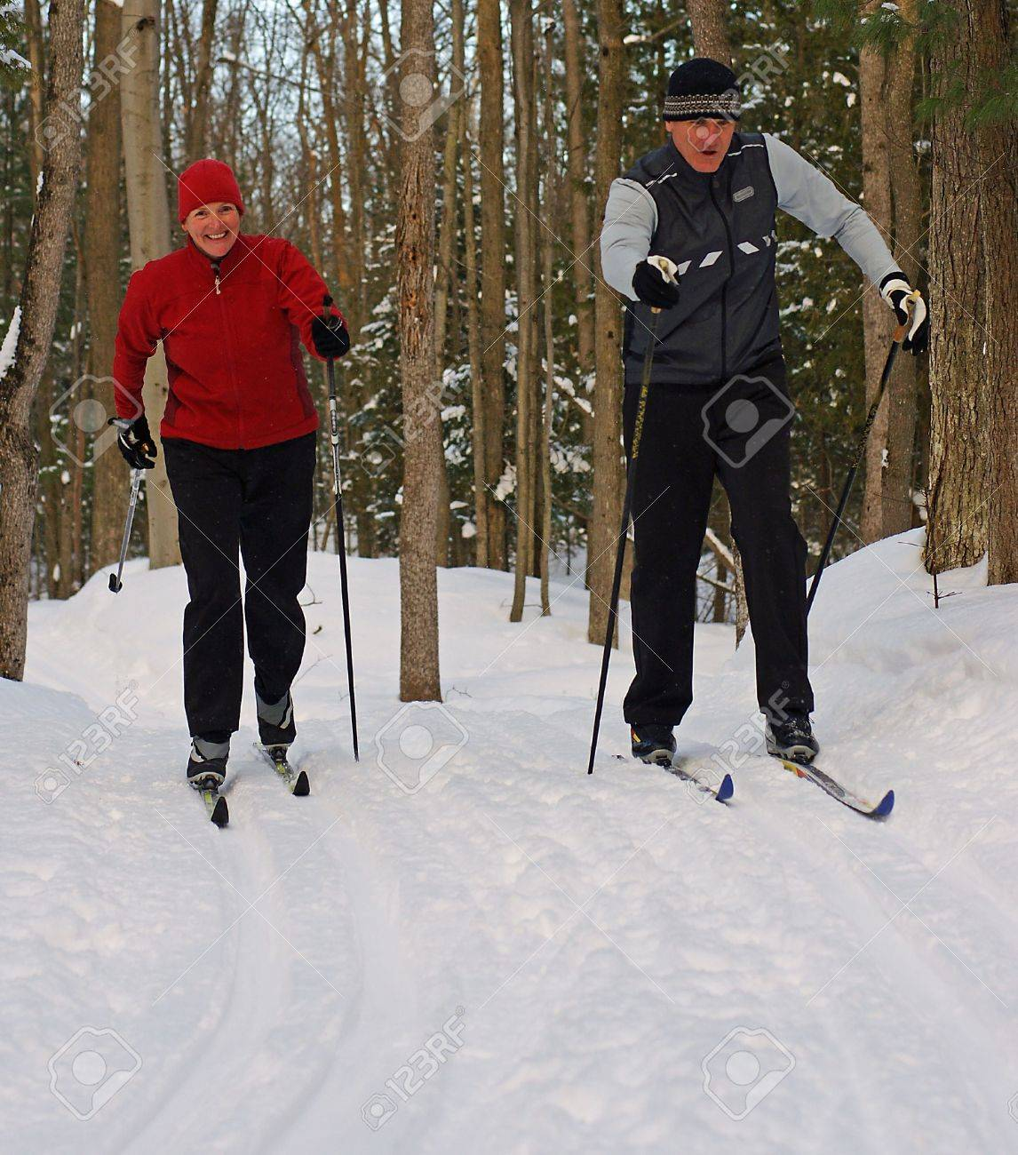 Couple on Nordic Skis in Canadian Forest - 4123717
