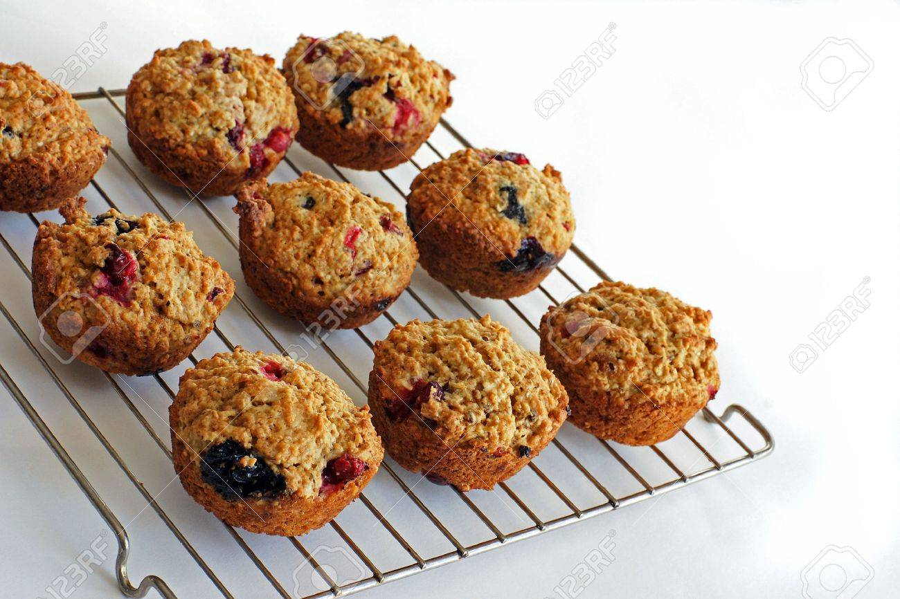 Home baked Cranberry-Blueberry muffins packed with fiber make a healthy snack - 4294852