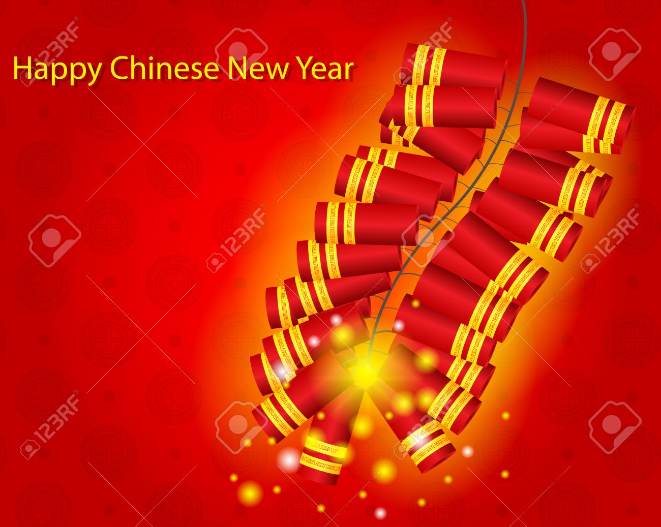 happy chinese new year with fire cracker background vector illustration stock vector 35148852