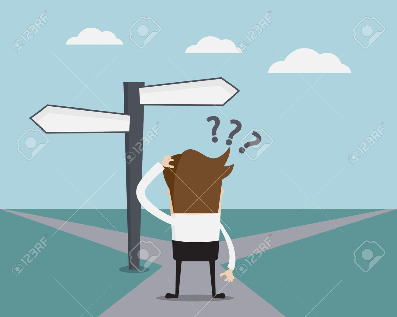 Business Concept, Businessman Confused On Crossroad Cartoon Vector Illustration - 44254766