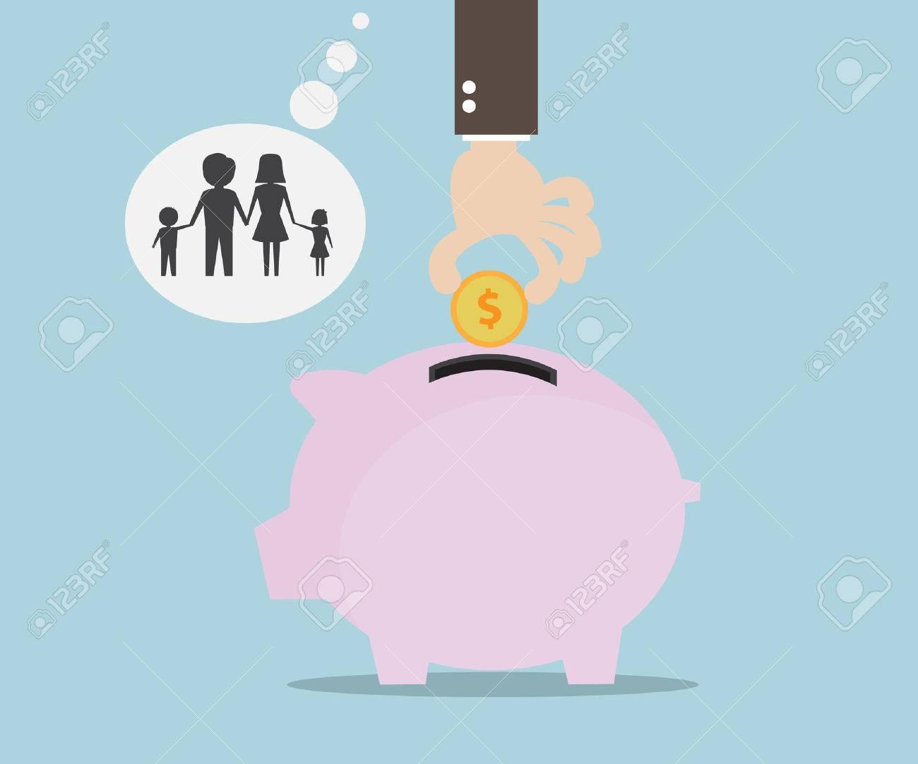 Hand Saving Money for Family, Money Saving Concept Flat Design Vector Illustration - 54305743
