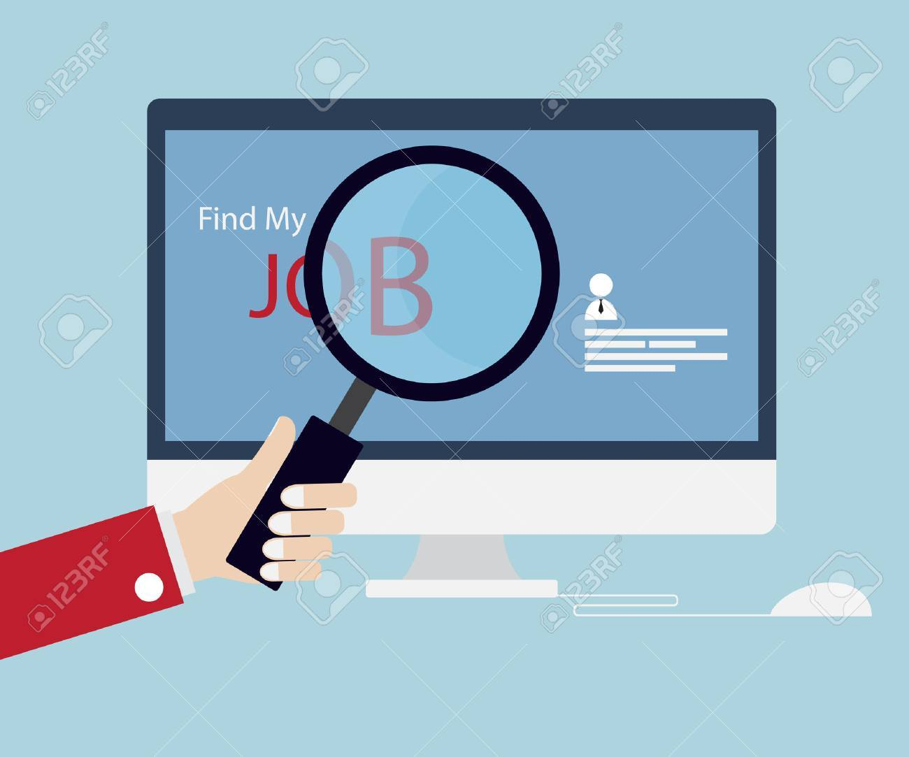 job searching job seeking magnifying glass online concept job searching job seeking magnifying glass online concept vector illustration stock vector 54305798