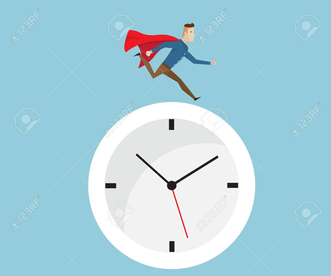 Businessman With Red Cape Running On Clock Time Management Concept Royalty Free Cliparts Vectors And Stock Illustration Image 82073455