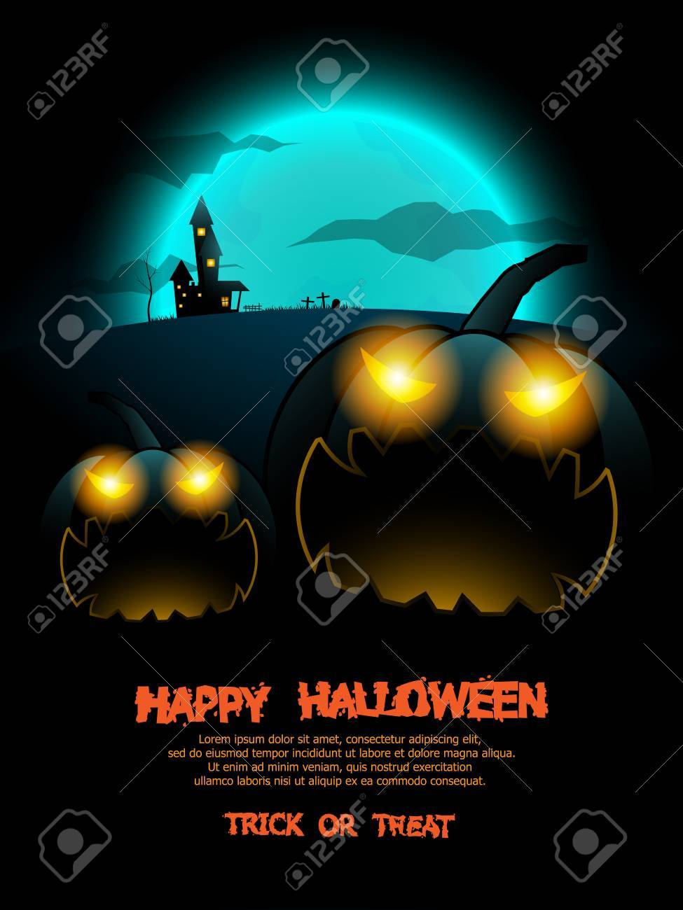 Halloween Poster Background Free.Abstract Happy Halloween Poster Background Vector Illustration