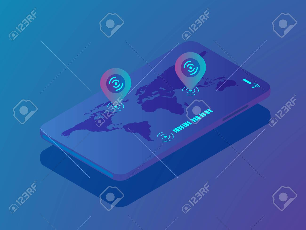 illustration of mobile smartphone with location application,